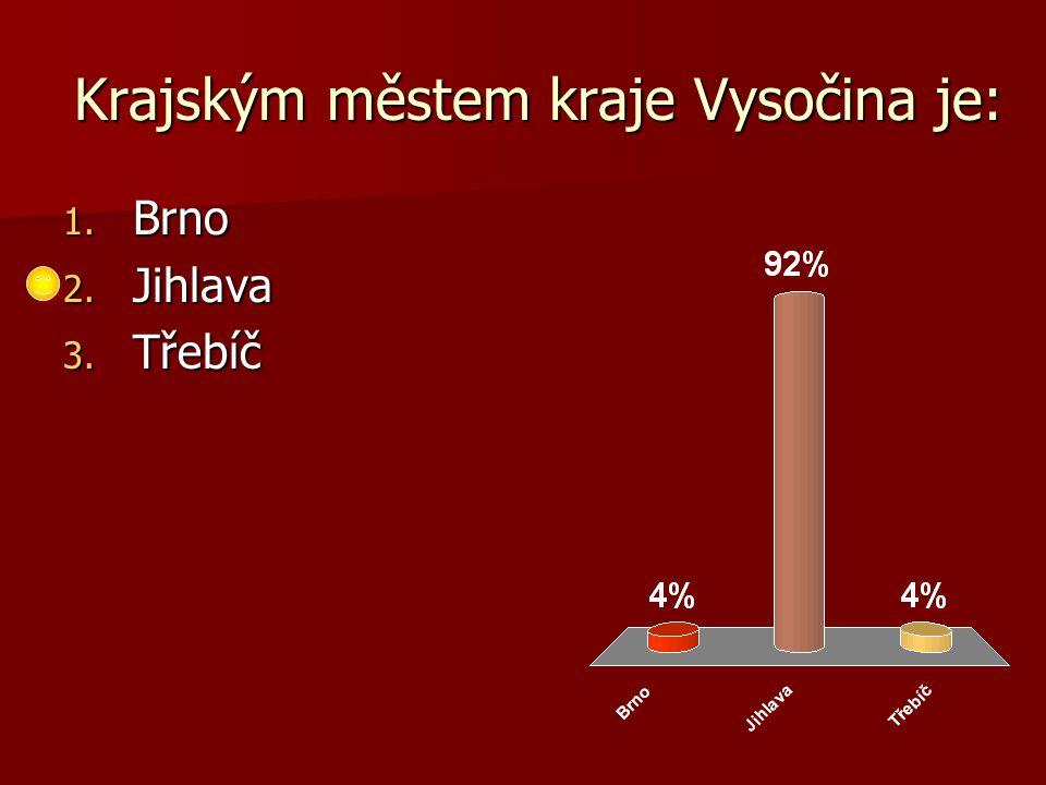 Krajským městem kraje Vysočina je: 1. Brno 2. Jihlava 3. Třebíč