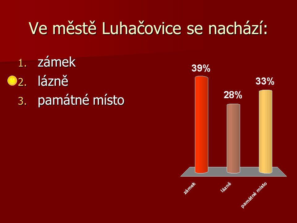 Ve městě Luhačovice se nachází: 1. zámek 2. lázně 3. památné místo