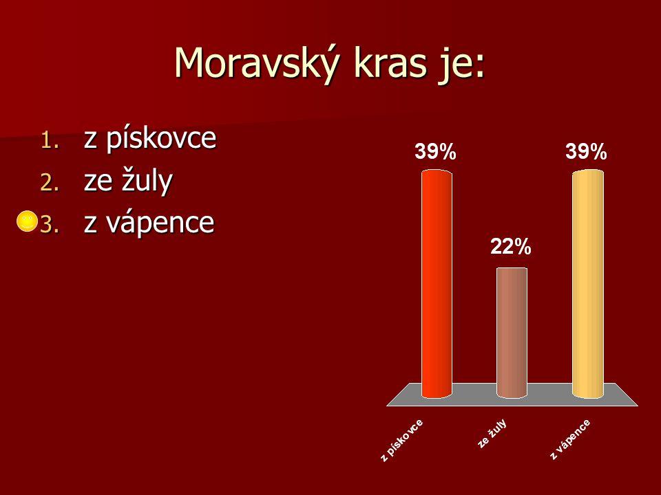 Moravský kras je: 1. z pískovce 2. ze žuly 3. z vápence