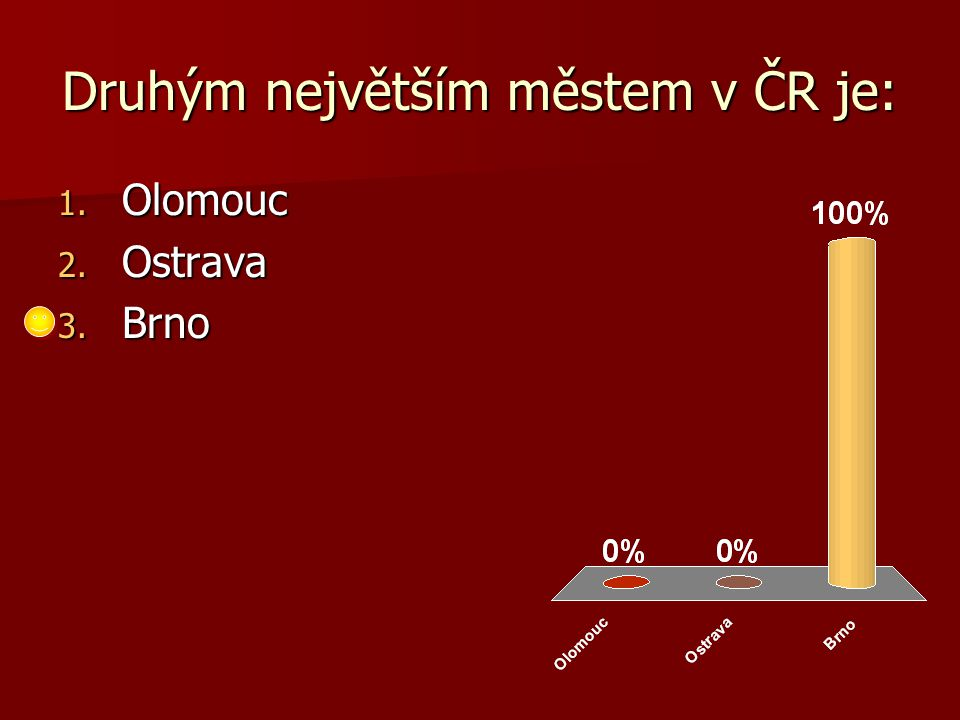 Druhým největším městem v ČR je: 1. Olomouc 2. Ostrava 3. Brno