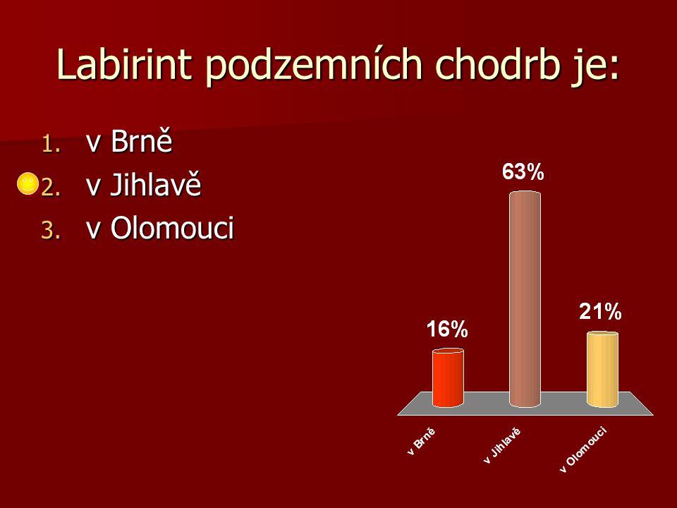 Labirint podzemních chodrb je: 1. v Brně 2. v Jihlavě 3. v Olomouci