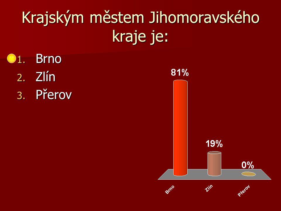 Krajským městem Jihomoravského kraje je: 1. Brno 2. Zlín 3. Přerov