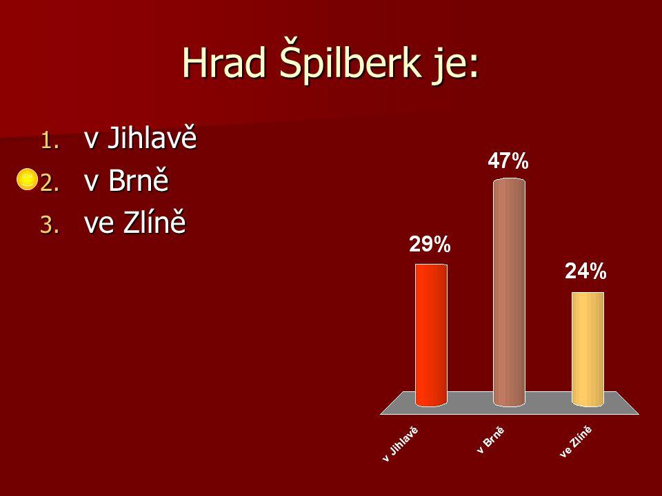 Hrad Špilberk je: 1. v Jihlavě 2. v Brně 3. ve Zlíně