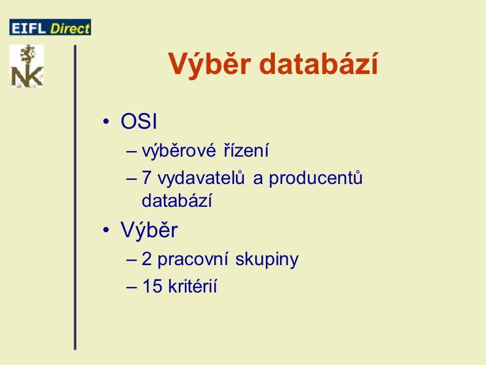 Výběr databází OSI –výběrové řízení –7 vydavatelů a producentů databází Výběr –2 pracovní skupiny –15 kritérií