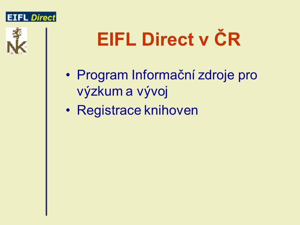 EIFL Direct v ČR Program Informační zdroje pro výzkum a vývoj Registrace knihoven