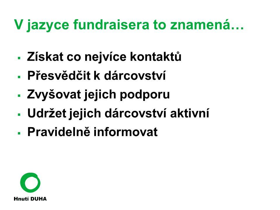 V jazyce fundraisera to znamená…  Získat co nejvíce kontaktů  Přesvědčit k dárcovství  Zvyšovat jejich podporu  Udržet jejich dárcovství aktivní  Pravidelně informovat