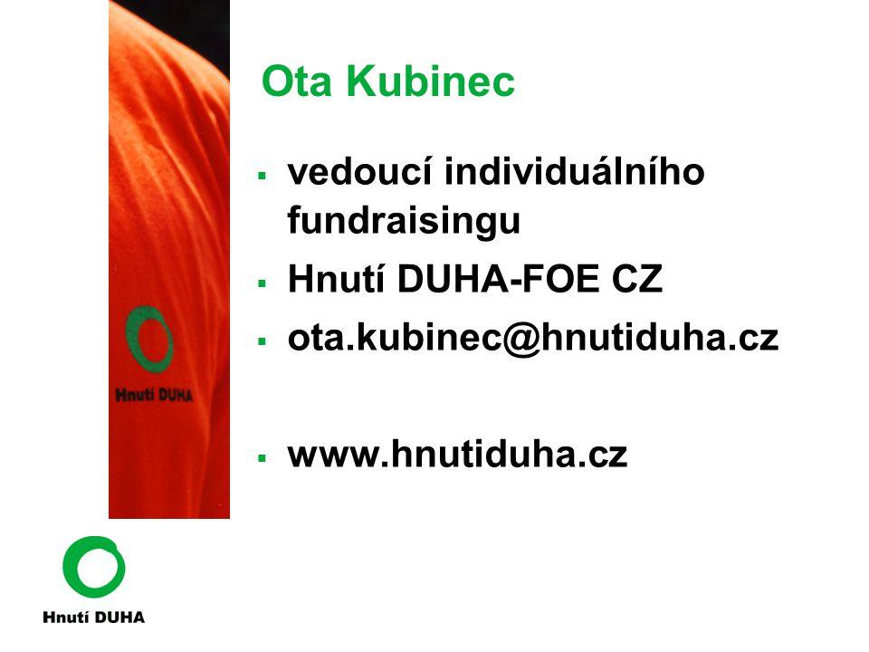 Ota Kubinec  vedoucí individuálního fundraisingu  Hnutí DUHA-FOE CZ  ota.kubinec@hnutiduha.cz  www.hnutiduha.cz