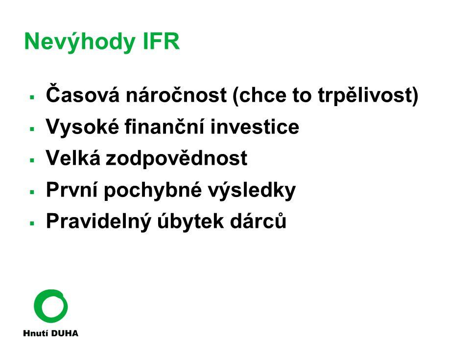 Nevýhody IFR  Časová náročnost (chce to trpělivost)  Vysoké finanční investice  Velká zodpovědnost  První pochybné výsledky  Pravidelný úbytek dárců