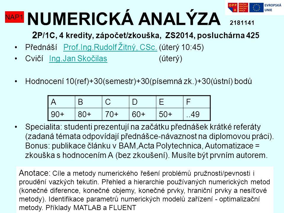 NUMERICKÁ ANALÝZA 2181141 2 P/1C, 4 kredity, zápočet/zkouška, ZS2014, posluchárna 425 Přednáší Prof.Ing.Rudolf Žitný, CSc. (úterý 10:45)Prof.Ing.Rudol