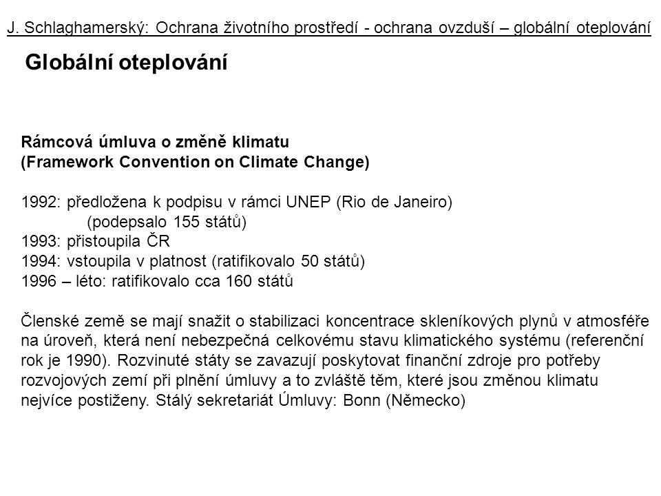 J. Schlaghamerský: Ochrana životního prostředí - ochrana ovzduší – globální oteplování Globální oteplování Rámcová úmluva o změně klimatu (Framework C