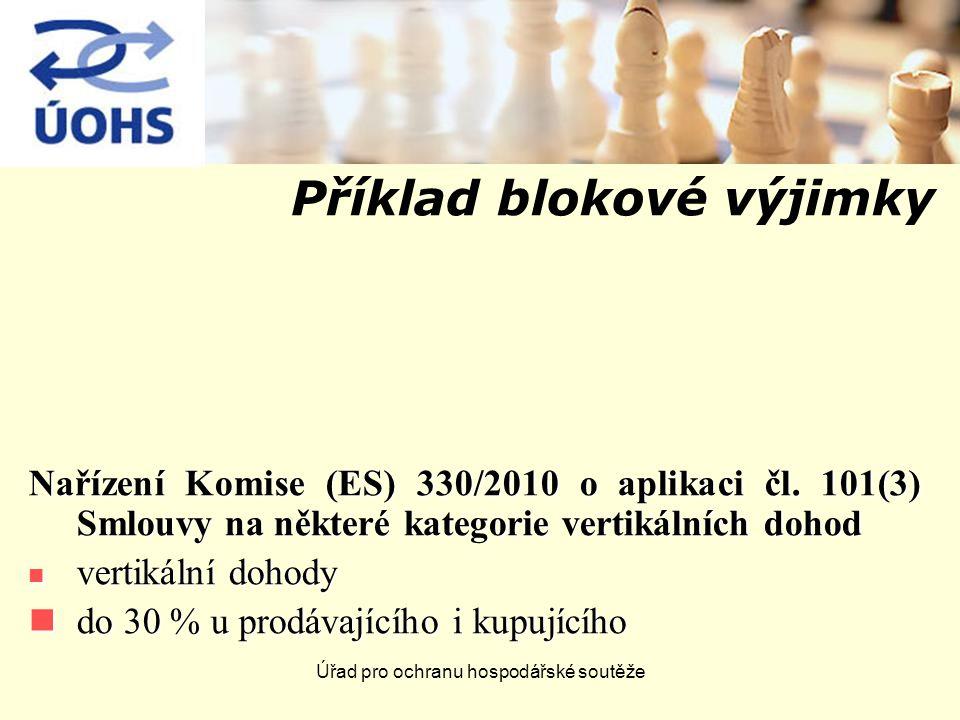 Úřad pro ochranu hospodářské soutěže Příklad blokové výjimky Nařízení Komise (ES) 330/2010 o aplikaci čl. 101(3) Smlouvy na některé kategorie vertikál