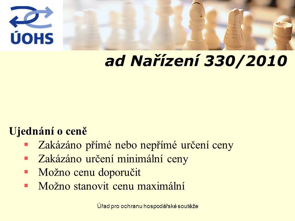 Úřad pro ochranu hospodářské soutěže ad Nařízení 330/2010 Ujednání o ceně  Zakázáno přímé nebo nepřímé určení ceny  Zakázáno určení minimální ceny 