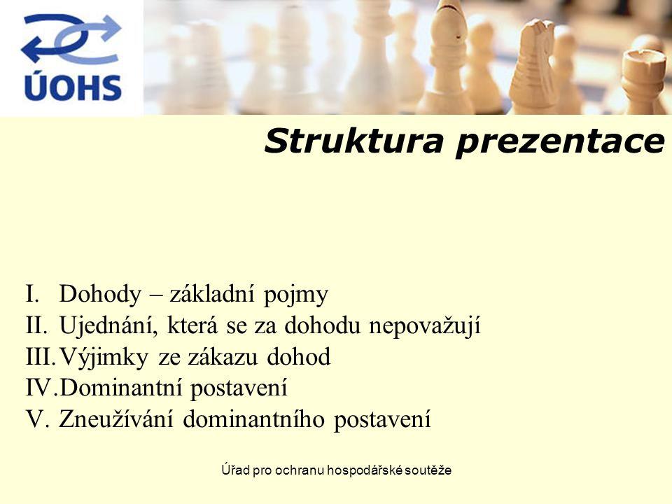 Struktura prezentace I.Dohody – základní pojmy II.Ujednání, která se za dohodu nepovažují III.Výjimky ze zákazu dohod IV.Dominantní postavení V.Zneužívání dominantního postavení