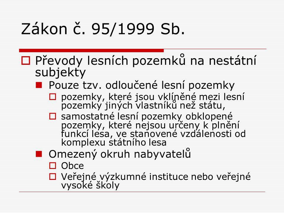 Zákon č. 95/1999 Sb.  Převody lesních pozemků na nestátní subjekty Pouze tzv. odloučené lesní pozemky  pozemky, které jsou vklíněné mezi lesní pozem