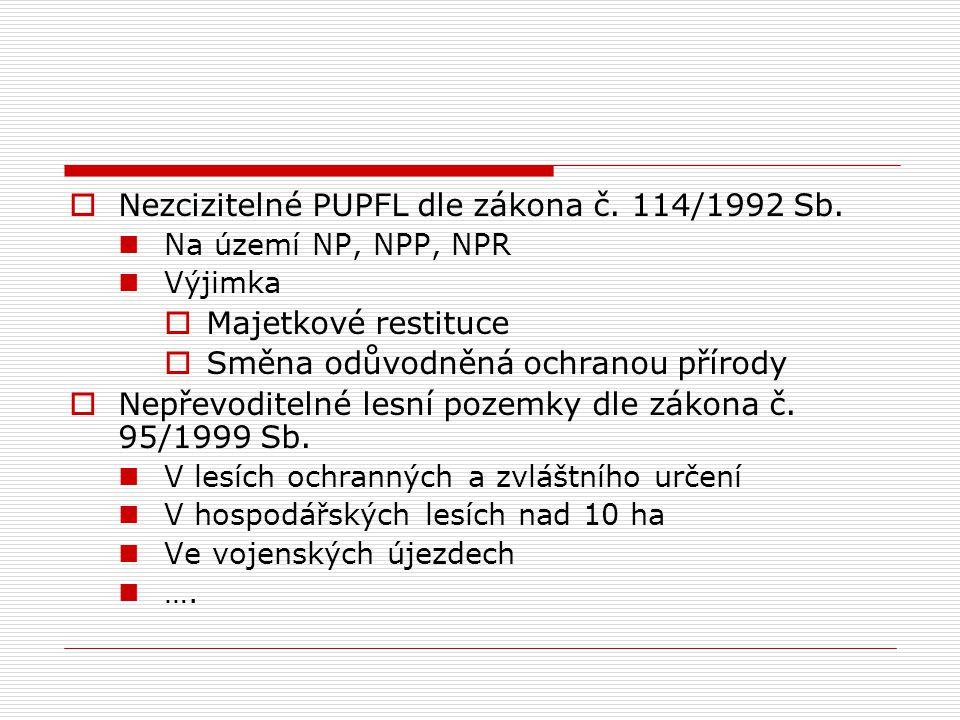  Nezcizitelné PUPFL dle zákona č. 114/1992 Sb. Na území NP, NPP, NPR Výjimka  Majetkové restituce  Směna odůvodněná ochranou přírody  Nepřevoditel