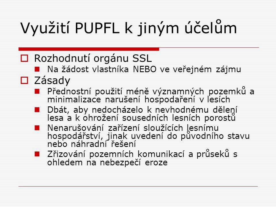 Využití PUPFL k jiným účelům  Rozhodnutí orgánu SSL Na žádost vlastníka NEBO ve veřejném zájmu  Zásady Přednostní použití méně významných pozemků a
