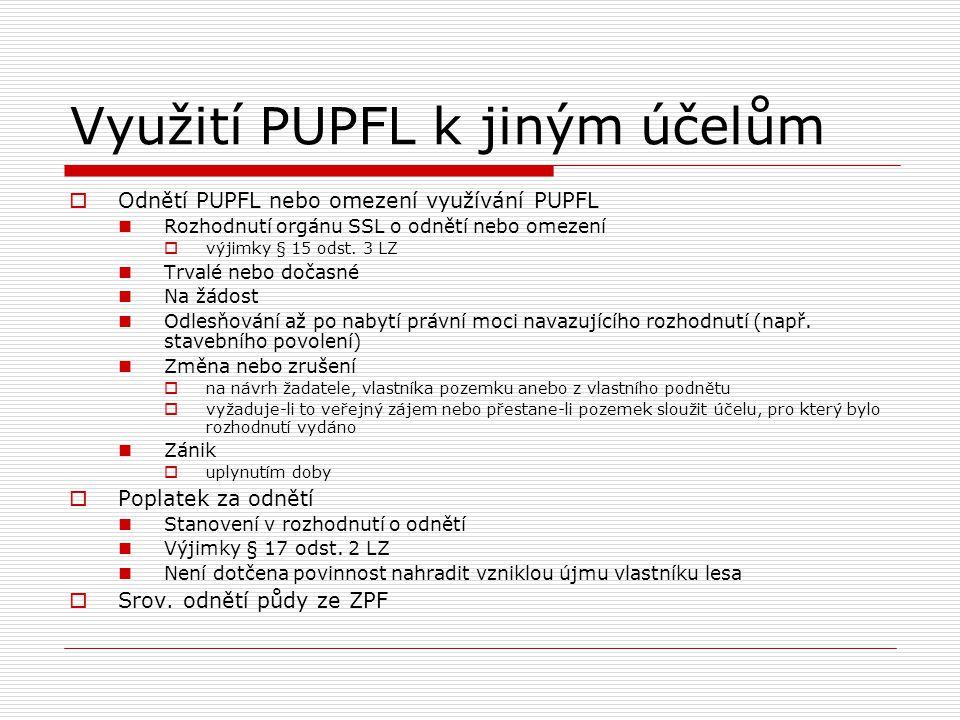 Využití PUPFL k jiným účelům  Odnětí PUPFL nebo omezení využívání PUPFL Rozhodnutí orgánu SSL o odnětí nebo omezení  výjimky § 15 odst. 3 LZ Trvalé