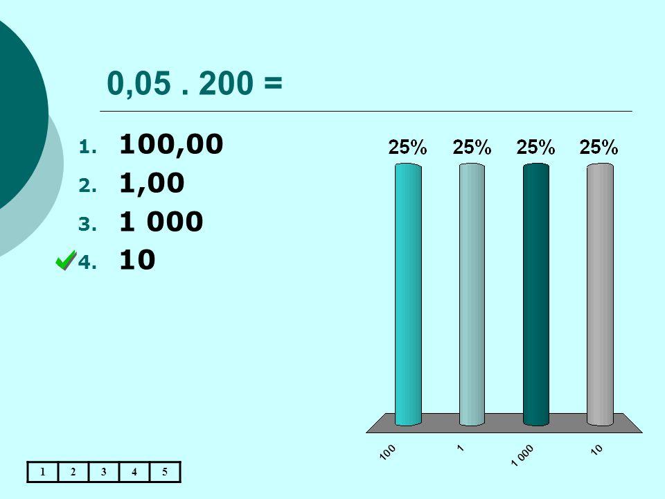 0,05. 200 = 1. 100,00 2. 1,00 3. 1 000 4. 10 12345