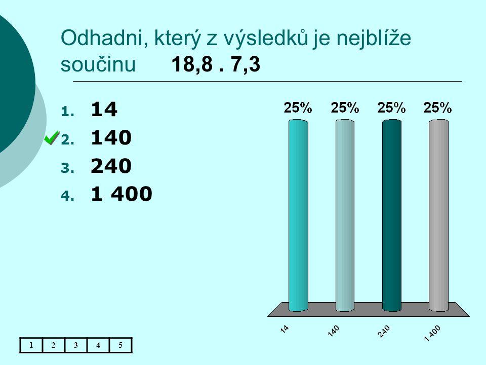 Odhadni, který z výsledků je nejblíže součinu 18,8. 7,3 12345 1. 14 2. 140 3. 240 4. 1 400