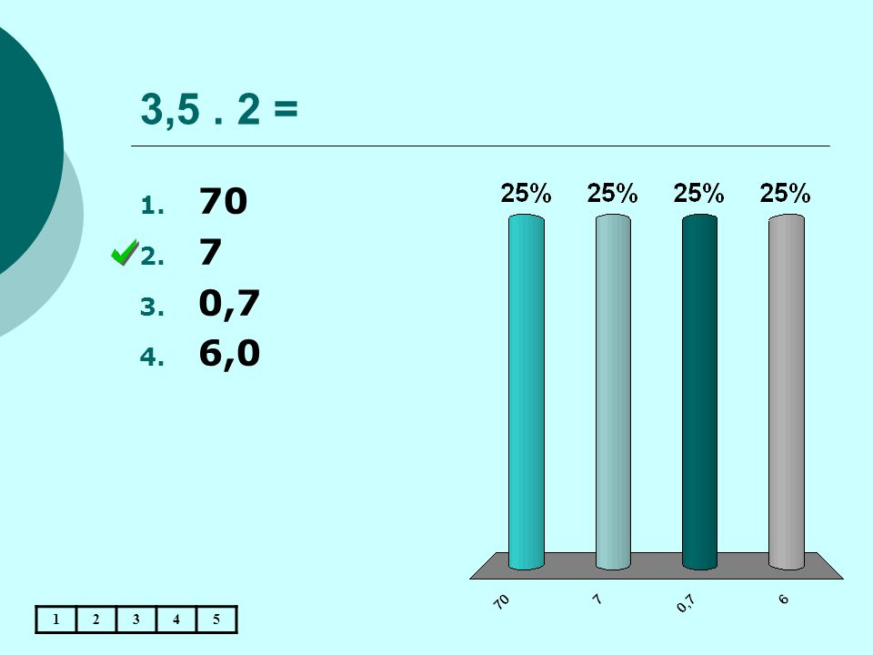 3,5. 2 = 12345 1. 70 2. 7 3. 0,7 4. 6,0
