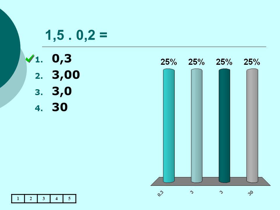 1,5. 0,2 = 12345 1. 0,3 2. 3,00 3. 3,0 4. 30