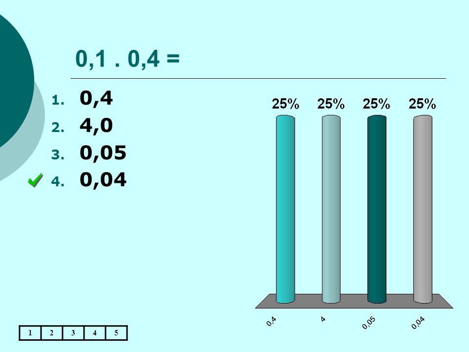 0,1. 0,4 = 12345 1. 0,4 2. 4,0 3. 0,05 4. 0,04