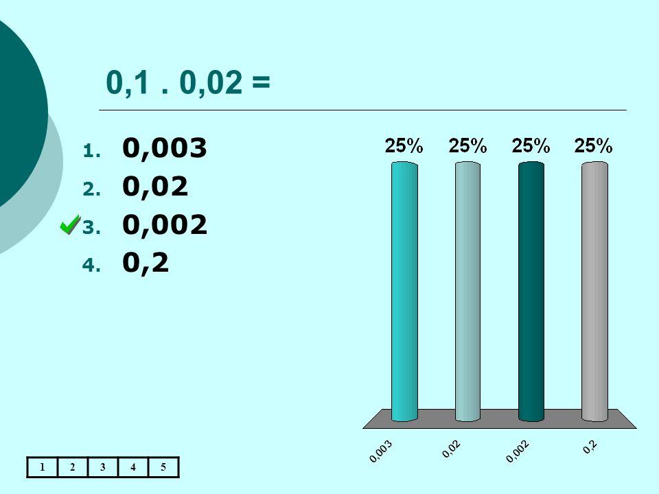 0,1. 0,02 = 12345 1. 0,003 2. 0,02 3. 0,002 4. 0,2