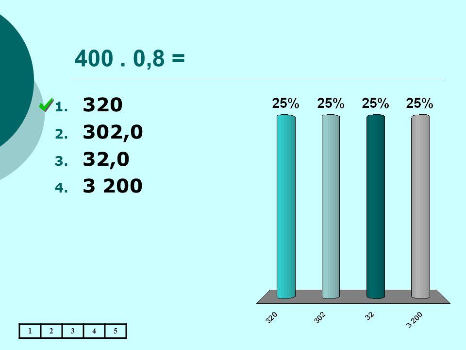 400. 0,8 = 12345 1. 320 2. 302,0 3. 32,0 4. 3 200