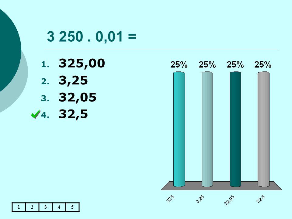 3 250. 0,01 = 12345 1. 325,00 2. 3,25 3. 32,05 4. 32,5