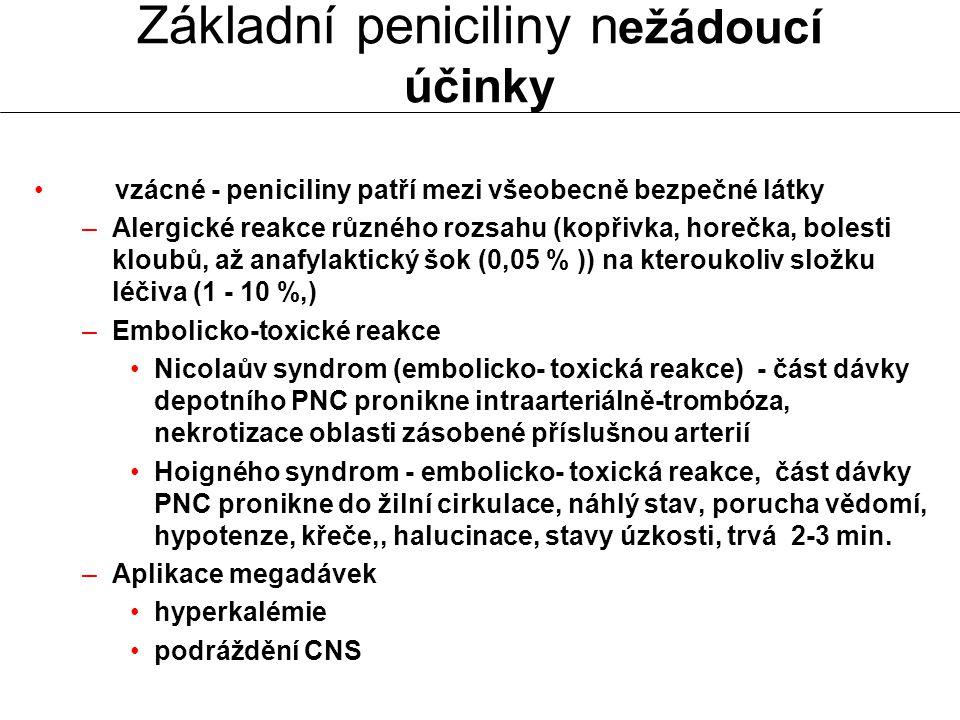 vzácné - peniciliny patří mezi všeobecně bezpečné látky –Alergické reakce různého rozsahu (kopřivka, horečka, bolesti kloubů, až anafylaktický šok (0,
