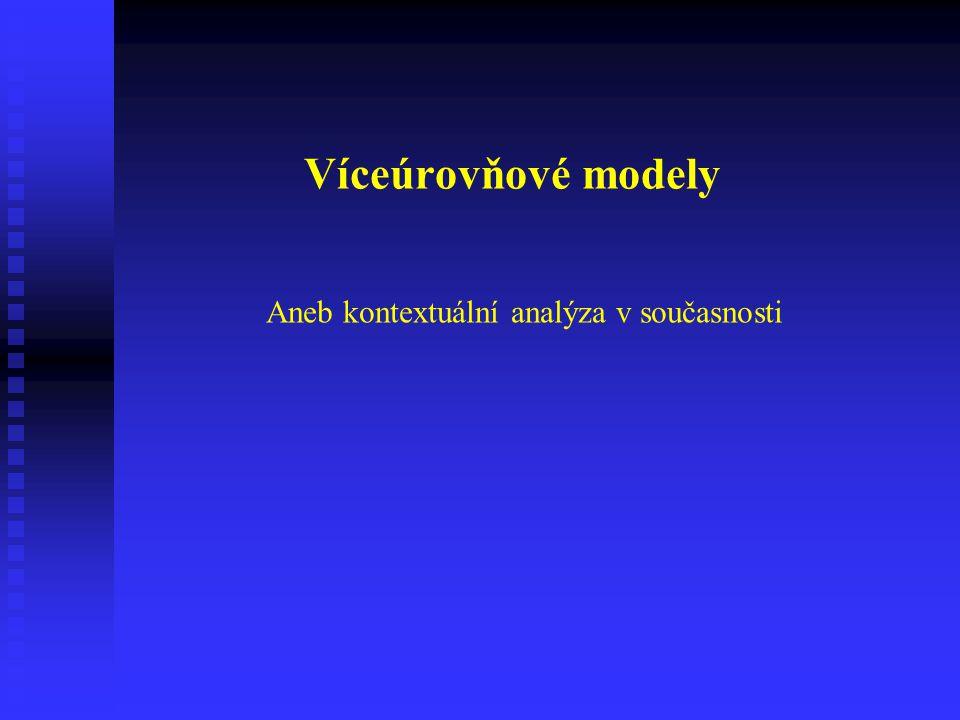Kontextuální analýza Proměnné na úrovni jednotlivců: absolutní (absolute), absolutní (absolute), vztahové (relational), vztahové (relational), porovnávací (comparative) a porovnávací (comparative) a kontextuální (contextual) kontextuální (contextual)