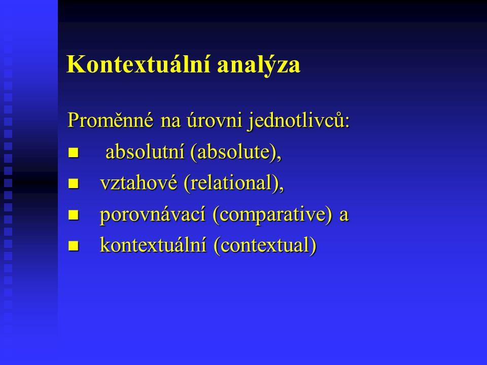 Kontextuální analýza Proměnné na úrovni jednotlivců: absolutní (absolute), absolutní (absolute), vztahové (relational), vztahové (relational), porovná
