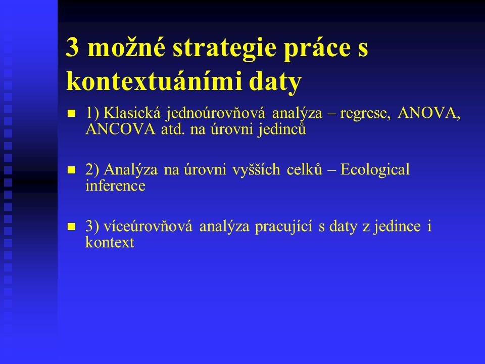 3 možné strategie práce s kontextuáními daty 1) Klasická jednoúrovňová analýza – regrese, ANOVA, ANCOVA atd. na úrovni jedinců 2) Analýza na úrovni vy
