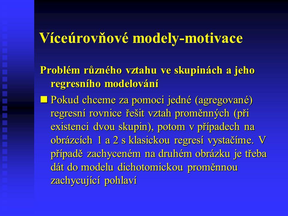 Víceúrovňové modely-motivace Problém různého vztahu ve skupinách a jeho regresního modelování Pokud chceme za pomoci jedné (agregované) regresní rovni