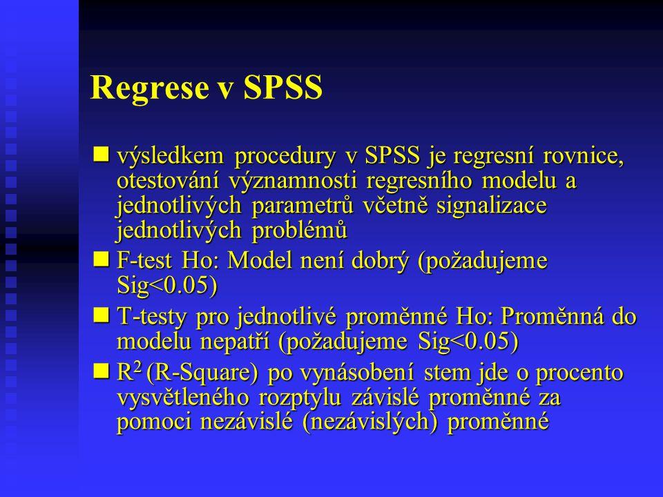 Regrese v SPSS-závislost příjmu na počtu let vzdělání RSquare- po vynásobení stem jde o procento vysvětleného rozptylu RSquare- po vynásobení stem jde o procento vysvětleného rozptylu závislé proměnné za pomoci nezávislé (nezávislých) proměnné