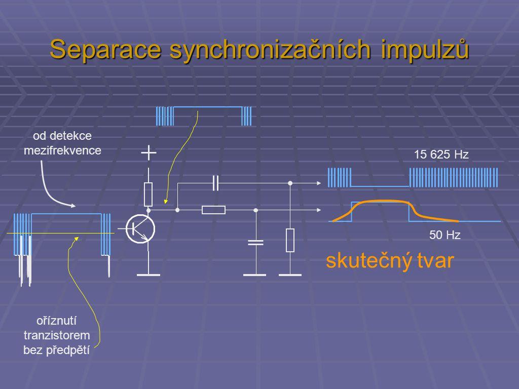 Separace synchronizačních impulzů od detekce mezifrekvence oříznutí tranzistorem bez předpětí 15 625 Hz 50 Hz skutečný tvar