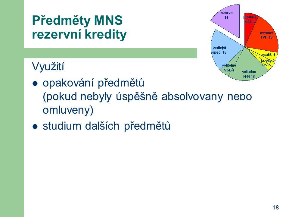 18 Předměty MNS rezervní kredity Využití opakování předmětů (pokud nebyly úspěšně absolvovány nebo omluveny) studium dalších předmětů