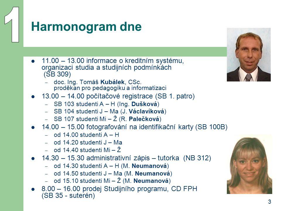 3 Harmonogram dne 11.00 – 13.00 informace o kreditním systému, organizaci studia a studijních podmínkách (SB 309) – doc. Ing. Tomáš Kubálek, CSc. prod
