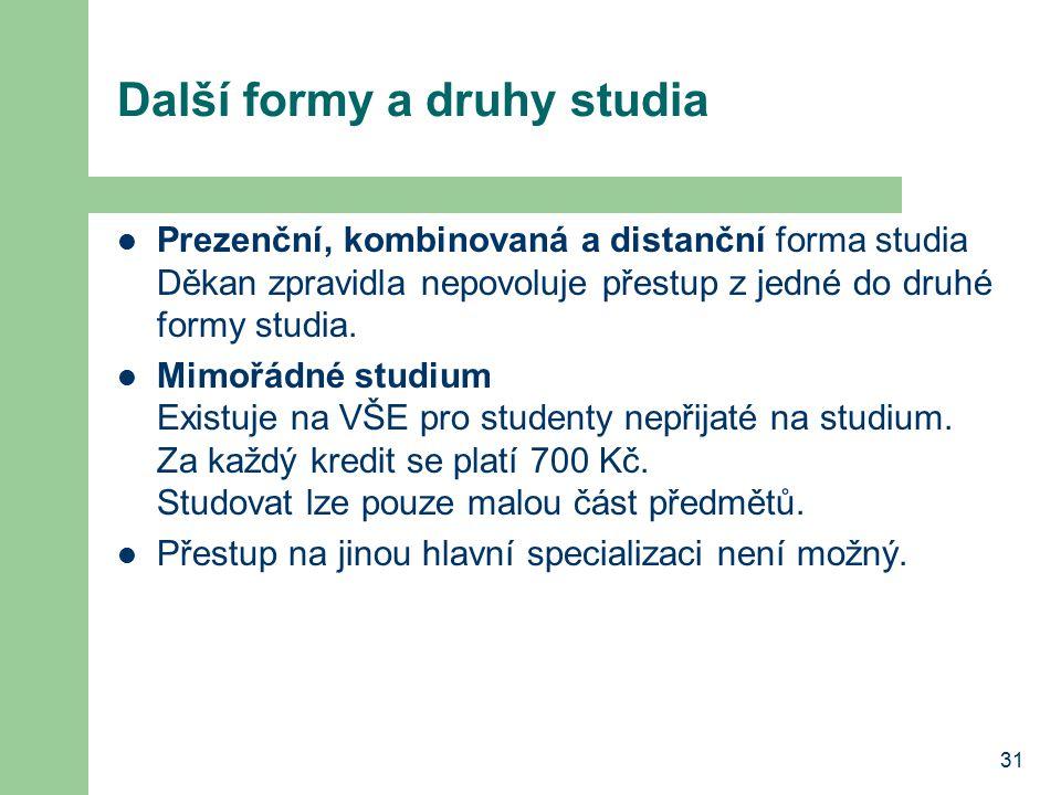 31 Další formy a druhy studia Prezenční, kombinovaná a distanční forma studia Děkan zpravidla nepovoluje přestup z jedné do druhé formy studia. Mimořá