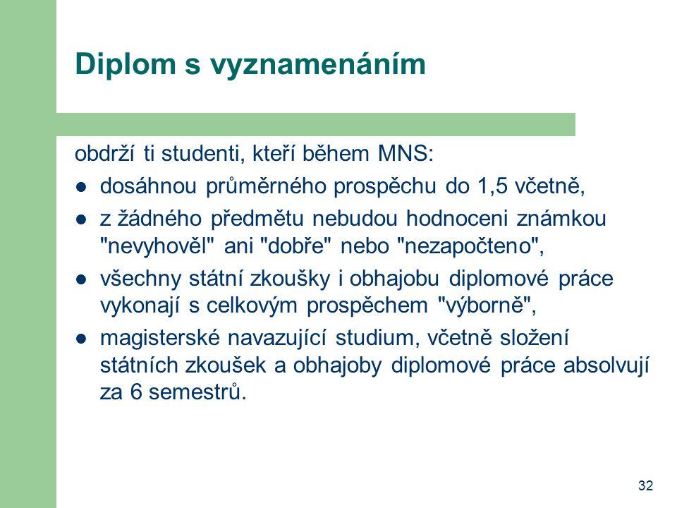 32 Diplom s vyznamenáním obdrží ti studenti, kteří během MNS: dosáhnou průměrného prospěchu do 1,5 včetně, z žádného předmětu nebudou hodnoceni známko