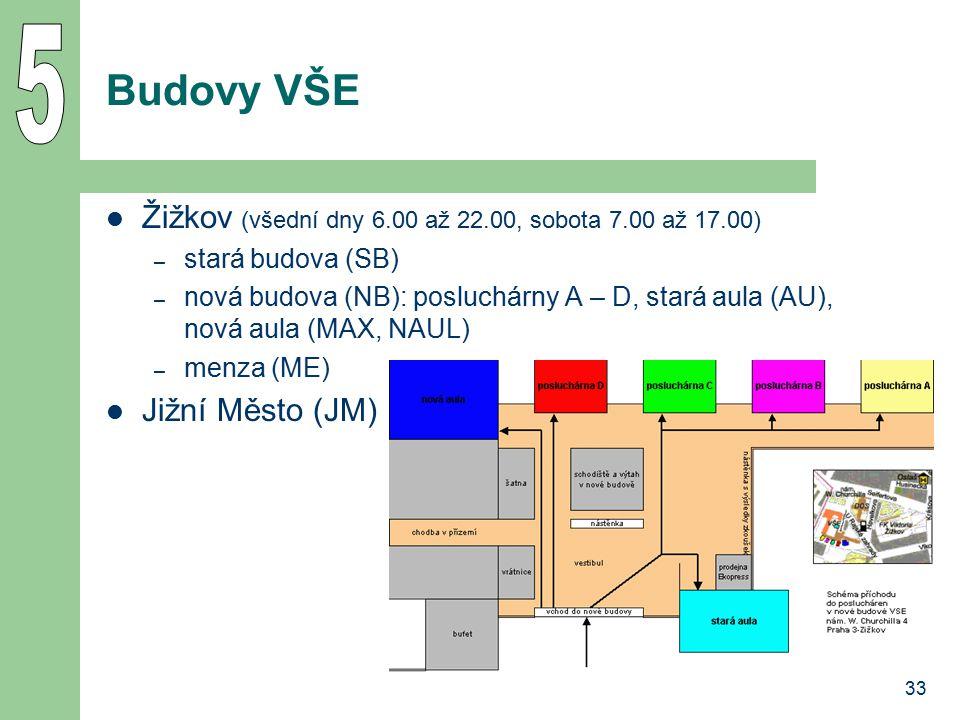 33 Budovy VŠE Žižkov (všední dny 6.00 až 22.00, sobota 7.00 až 17.00) – stará budova (SB) – nová budova (NB): posluchárny A – D, stará aula (AU), nová