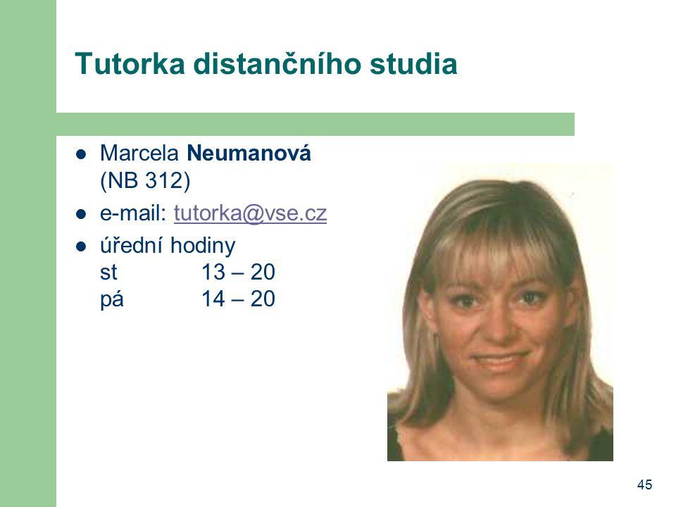 45 Tutorka distančního studia Marcela Neumanová (NB 312) e-mail: tutorka@vse.cztutorka@vse.cz úřední hodiny st13 – 20 pá 14 – 20