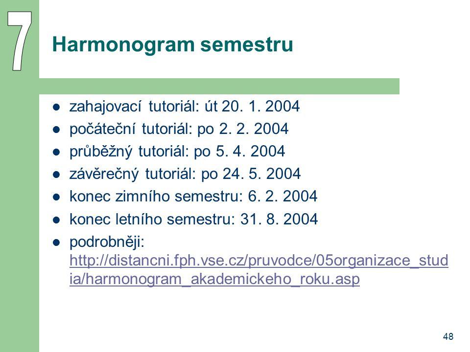 48 Harmonogram semestru zahajovací tutoriál: út 20. 1. 2004 počáteční tutoriál: po 2. 2. 2004 průběžný tutoriál: po 5. 4. 2004 závěrečný tutoriál: po