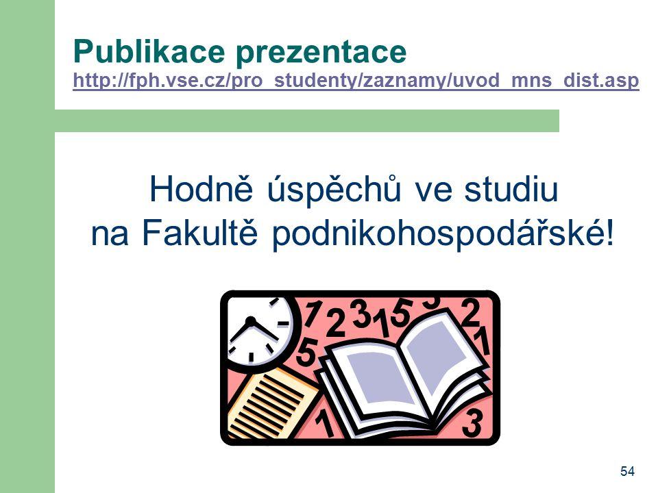 54 Publikace prezentace http://fph.vse.cz/pro_studenty/zaznamy/uvod_mns_dist.asp http://fph.vse.cz/pro_studenty/zaznamy/uvod_mns_dist.asp Hodně úspěch