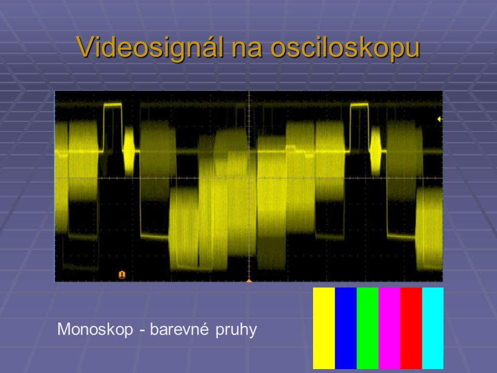 Videosignál na osciloskopu Monoskop - barevné pruhy