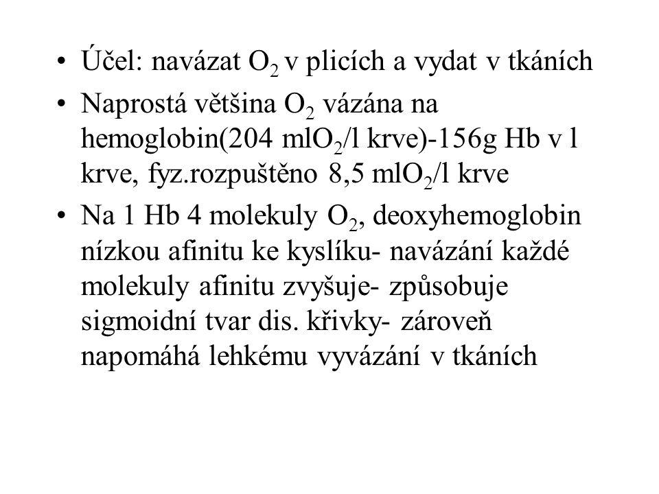 Účel: navázat O 2 v plicích a vydat v tkáních Naprostá většina O 2 vázána na hemoglobin(204 mlO 2 /l krve)-156g Hb v l krve, fyz.rozpuštěno 8,5 mlO 2