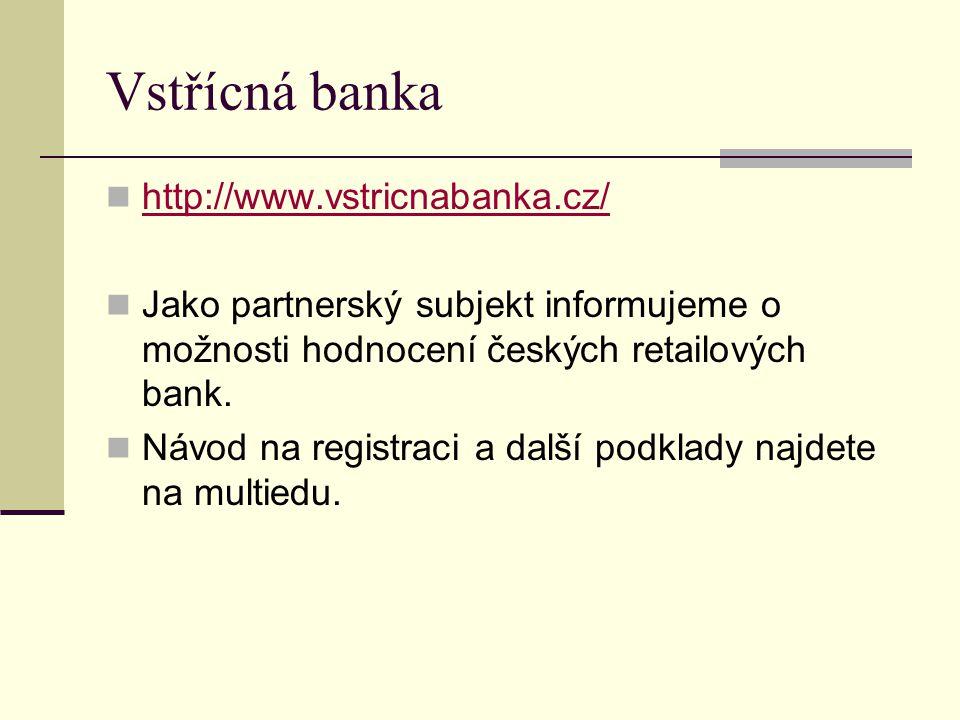 Vstřícná banka http://www.vstricnabanka.cz/ Jako partnerský subjekt informujeme o možnosti hodnocení českých retailových bank.