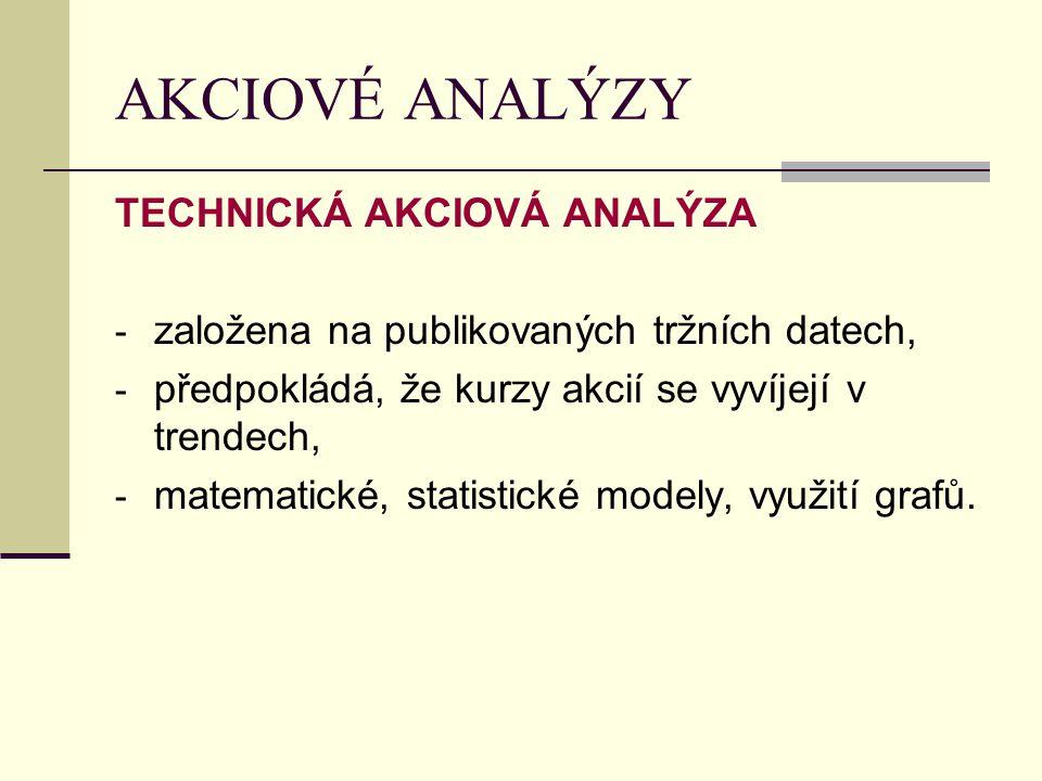 AKCIOVÉ ANALÝZY TECHNICKÁ AKCIOVÁ ANALÝZA - založena na publikovaných tržních datech, - předpokládá, že kurzy akcií se vyvíjejí v trendech, - matematické, statistické modely, využití grafů.