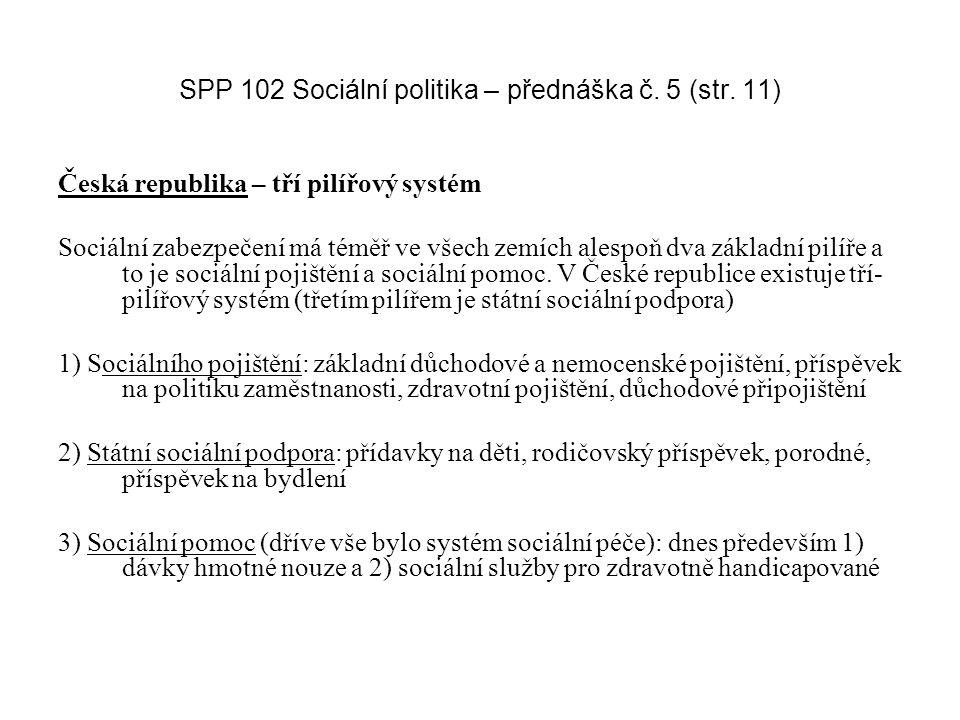SPP 102 Sociální politika – přednáška č. 5 (str. 11) Česká republika – tří pilířový systém Sociální zabezpečení má téměř ve všech zemích alespoň dva z