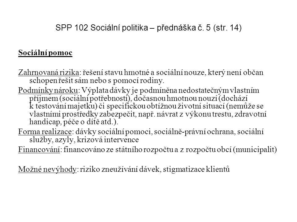 SPP 102 Sociální politika – přednáška č. 5 (str. 14) Sociální pomoc Zahrnovaná rizika: řešení stavu hmotné a sociální nouze, který není občan schopen